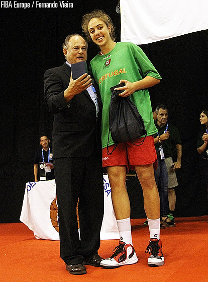 Portugal's Maria Kostourkova is presented with the MVP award